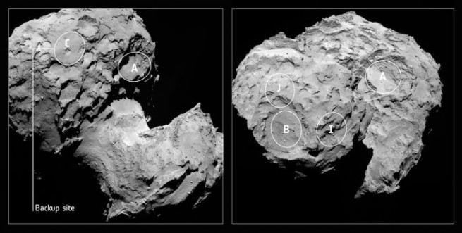 Context image of Comet 67P/Churyumov–Gerasimenko with the original five candidate landing sites for Rosetta's lander Philae, and with the backup, Site C, indicated. The regions are marked on OSIRIS narrow-angle camera images taken on 16 August from a distance of about 100 km. The comet nucleus is about 4 km across. Image Credit: ESA