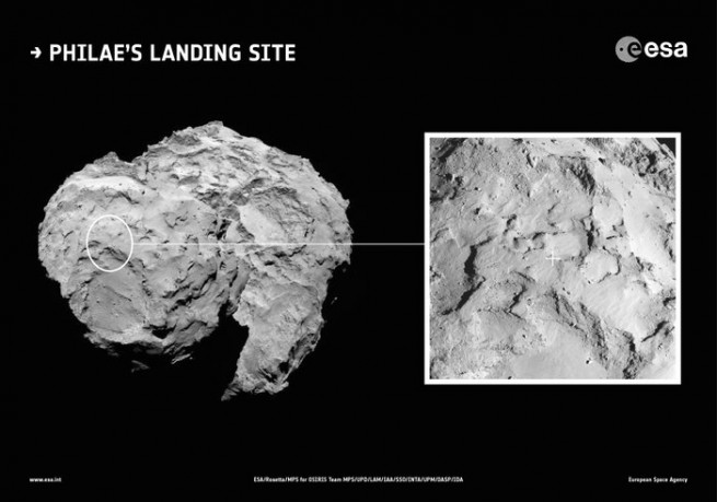 """Candidate landing site """"J"""" was selected as Philae's primary landing site. Image Credit: ESA"""