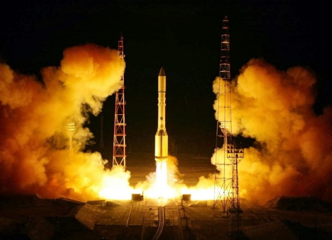 A Proton rocket launches from Baikonur Cosmodrome in Kazakhstan (file photo). Photo Credit: Roscosmos