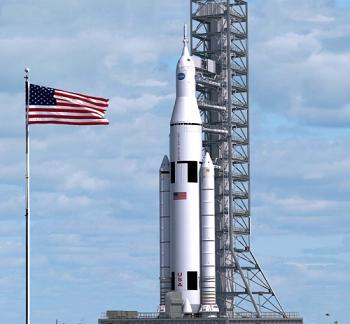 Artist's conception of the Space Launch System (SLS) on the pad. Image Credit: NASA