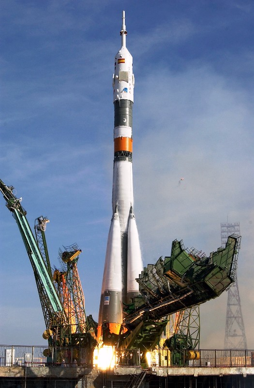 A Soyuz rocket lifts off from the Baikonur Cosmodrone located in Kazakhstan. Photo Credit: Roscosmos
