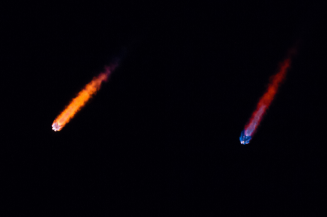 "The Falcon 9's first stage cuts out as the rocket makes its way ""uphill."" Photo credit: Jared Haworth / SpaceFlight Insider"
