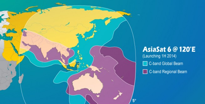 Map showing the area of coverage the AsiaSat 6 satellite will provide. Image Creidt: AsiaSat