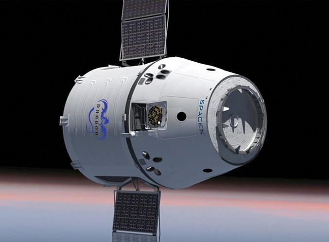 SpaceX Dragon capsule will carry supplies and science experiments up to the ISS. Image Credit: SpaceX