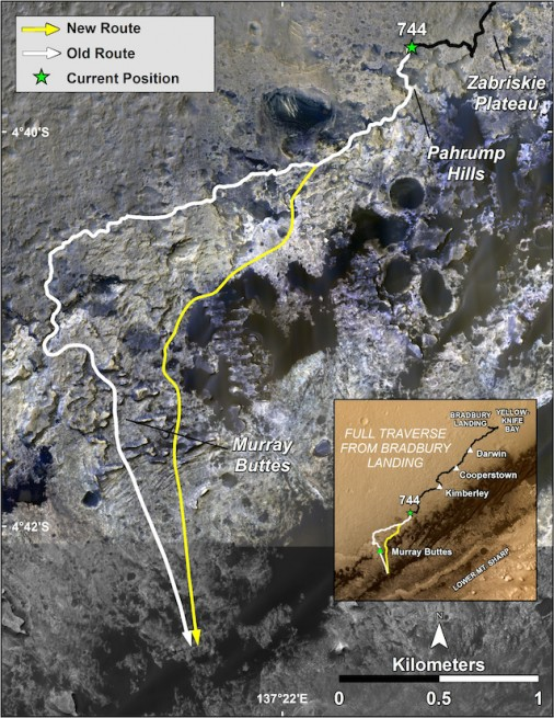 Map of the old proposed traverse route compared to the new one, which will takes Curiosity up the slopes of Mount Sharp. Image Credit: NASA/JPL-Caltech