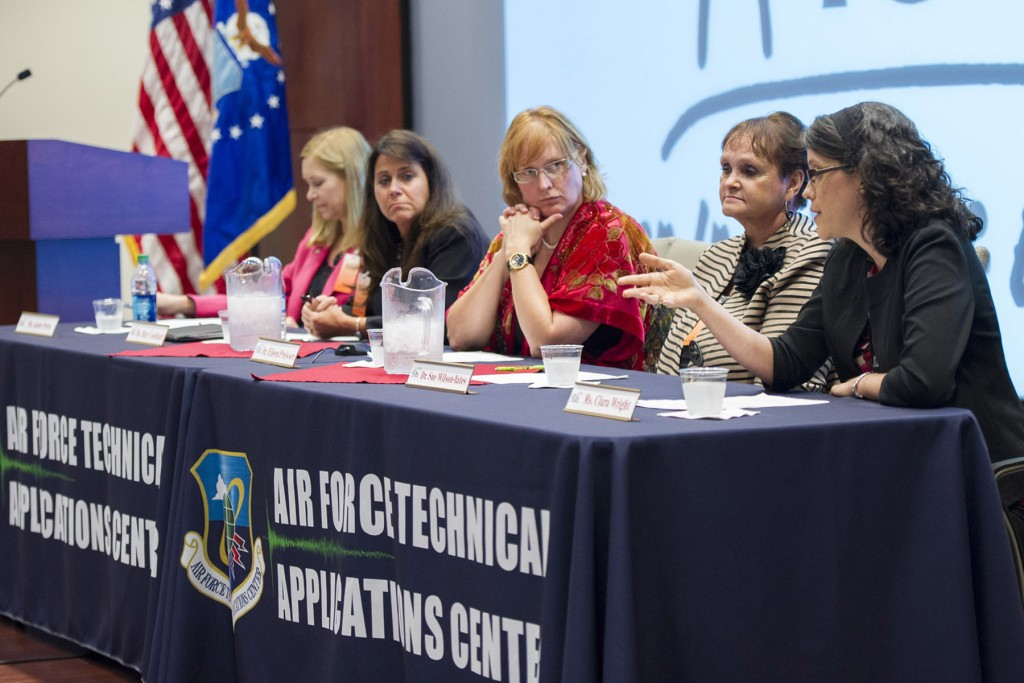 "Panel members for ""Personal Career Perspectives from Notable STEM Leaders."" Left to right: Janet Petro (KSC), Mary Lockhart (PEMDAS Technologies), Dr. Eileen Preisser (USAF GEOINT), Dr. Sue Wilson-Yates (Colgate-Palmolive), Clara Wright (NASA). Photo Credit: Matthew Jurgens / U.S. Air Force"