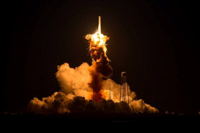 The Orbital Sciences Corporation Antares rocket, with the Cygnus spacecraft onboard suffers a catastrophic anomaly moments after launch from the Mid-Atlantic Regional Spaceport Pad 0A, Tuesday, Oct. 28, 2014, at NASA's Wallops Flight Facility in Virginia. The Cygnus spacecraft was filled with about 5,000 pounds of supplies slated for the International Space Station, including science experiments, experiment hardware, spare parts, and crew provisions. Photo Credit: Joel Kowsky / NASA