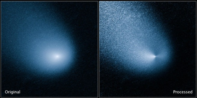 Comet Siding Spring as seen by the Hubble Space Telescope. The image was captured by Hubble's Wide Field Camera 3. Image Credit: NASA