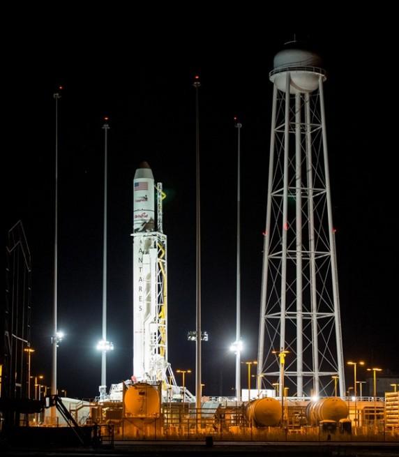 The Antares rocket that is slated to launch on Oct. 27, 2014 at Pad-0A at NASA's Wallops Flight Facility in Virginia. Photo Credit: Joel Kowsky / NASA