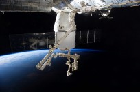 An Expedition 41 crew member aboard the International Space Station photographed this view of the SpaceX Dragon cargo ship docked to the nadir port of the Harmony node as the station's Canadarm2 and the Special Purpose Dexterous Manipulator prepare to remove external cargo from Dragon. Earth's horizon and the blackness of space provide the backdrop for the scene. Credit: NASA