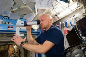 ESA astronaut Alexander Gerst performs the Ocular Health Examination. Gerst used the ISS's robotic arm to capture the Dragon spacecraft that delivered the 3D printer. Photo Credit: NASA