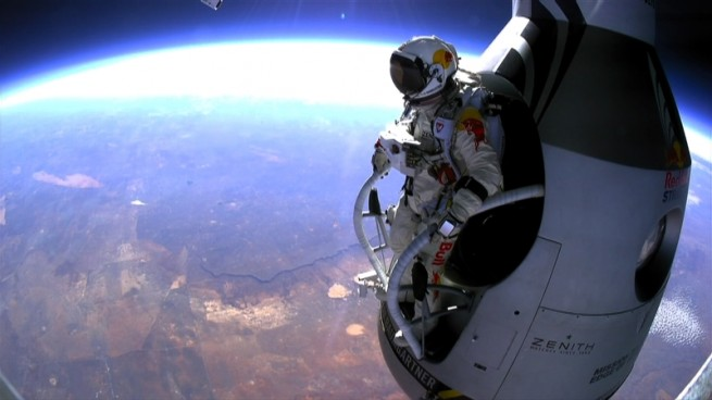 Felix Baumgartner's record-breaking skydive took place on Oct. 14, 2012. Photo Credit: National Geographic