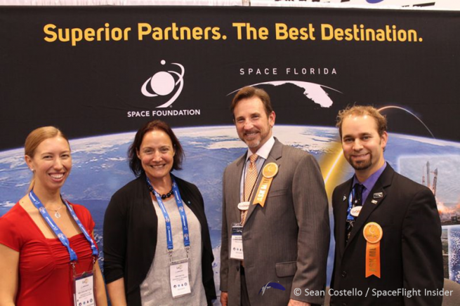 From left-to-right Melissa Battler, Kim Binsted, Dale Ketcham (Space Florida), Ryan Kobrick (Space Florida) International Astronautical Congress. Photo Credit: Sean Costello / SpaceFlight Insider