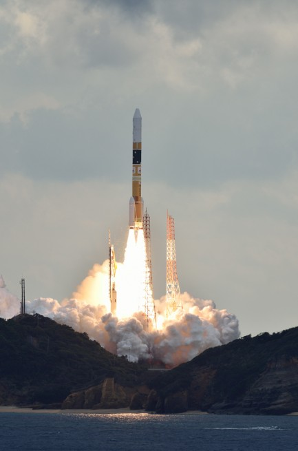 The H-IIA rocket that carried the Himawari-8 satellite into space launches from Tanegashima Space Center in Japan. Photo Credit: Narita Masahiro