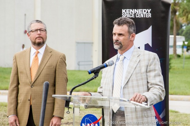 Kirk Hazen (right) and Steve Bellflower (left) are leading the construction efforts on KSC's new headquarters. Photo Credit: Mike Seeley/Spaceflight Insider