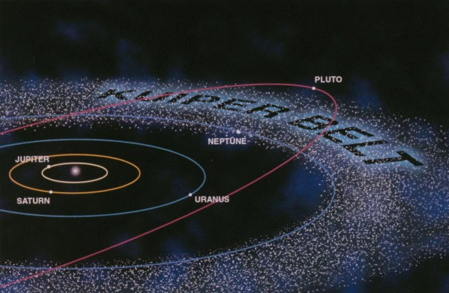 Illustration of the Kuiper Belt, and the orbits of both Pluto and Neptune. Image Credit: NASA