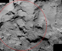 "Close-up of landing site ""J"" as seen from 18 miles (30 km). Image Credit: ESA"