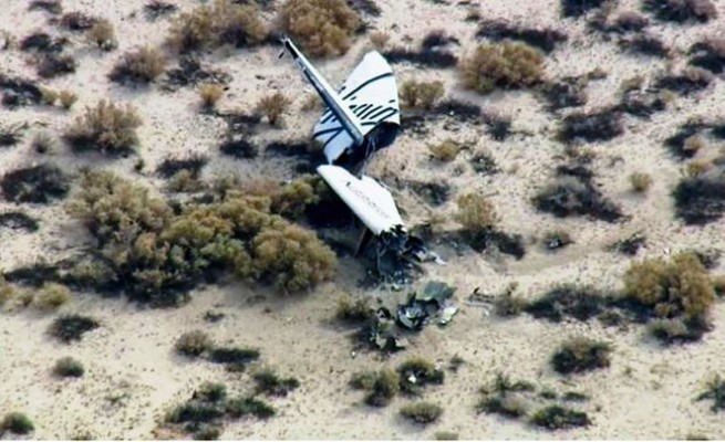 SpaceShipTwo's wreckage can be seen in this image. Photo Credit: FOX News