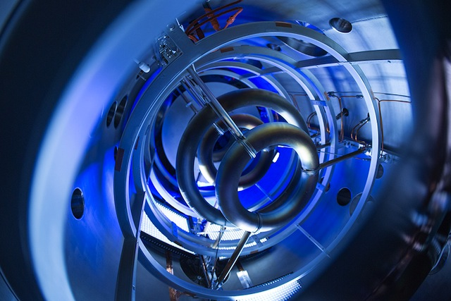 Superconducting magnetic coils inside a compact fusion reactor. Photo Credit: Lockheed Martin