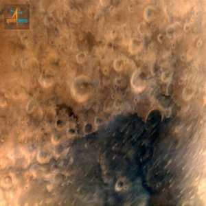 The ISRO Mars Orbiter Mission (MOM) captured this image of the Martian terrain. Image Credit: ISRO