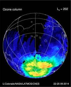 The geographical distribution of ozone in the southern hemisphere of Mars, imaged by MAVEN's Imaging Ultraviolet Spectrograph. On Mars, ozone is primarily destroyed by the combined action of water vapor and sunlight. The cold, dark conditions near the pole allow ozone to accumulate there. Credit: University of Colorado; NASA; LATMOS/CNES