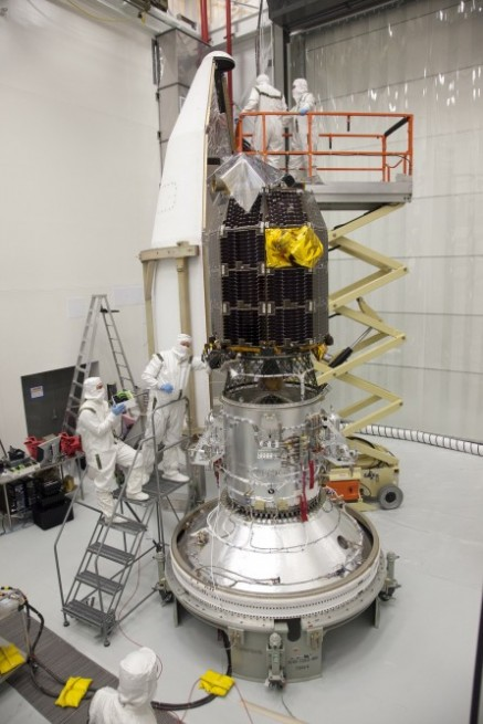 LADEE is fitted with a payload fairing before launch. Photo Credit: NASA Ames