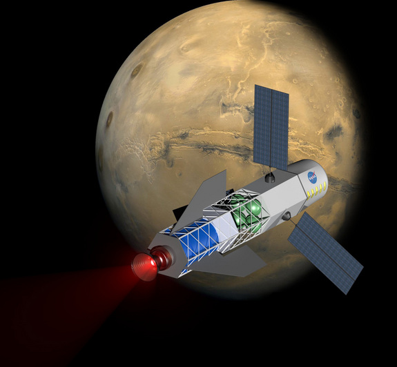 Artist's conception of a fusion-powered spacecraft nearing Mars. Image Credit: Credit: University of Washington/MSNW
