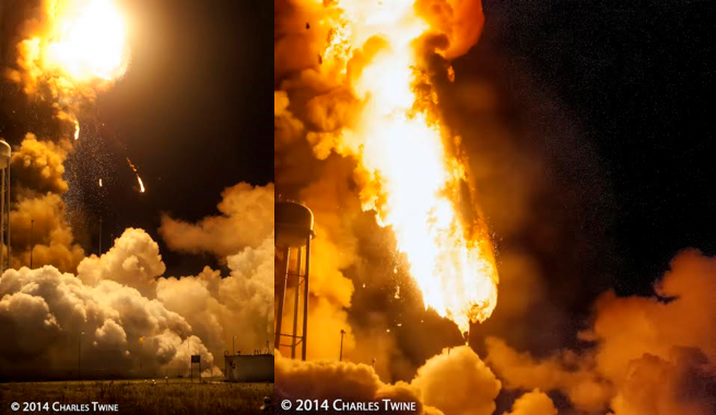 Orb-3 Orbital Sciences Corporation Antares rocket Cygnus spacecraft exploding explodes Wallops Flight Facility NASA Commercial Resupply Services photo credit Charles Twine SpaceFlight Insider - Copy