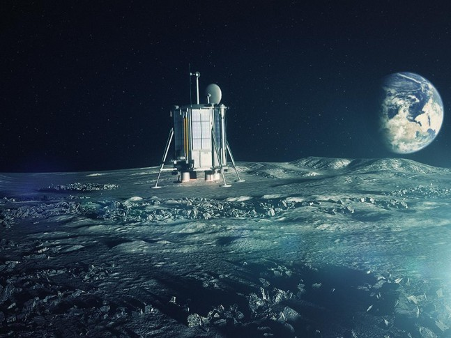Artist's conception of Lunar Mission One lander descending towards the lunar surface. Image Credit: Lunar Missions LTD. posted on SpaceFlight Insider