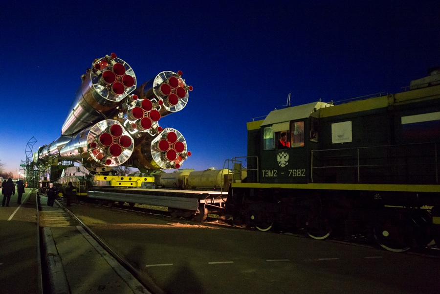 Expedition 42 Soyuz Rollout to the launch pad at Baikonur Cosmodrone in Kazakhstan photo credit Aubrey Gemignani / NASA posted on SpaceFlight Insider