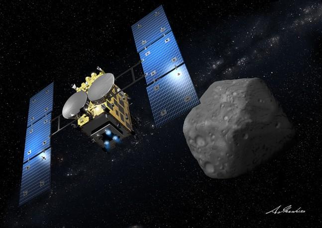 An illustration of Hayabusa 2 depicting its approach of the asteroid 1999 JU3. Image Credit: Akihiro Ikeshita