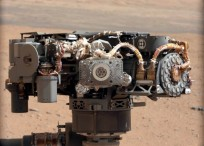 Alpha Particle X Ray Spectrometer APXS on NASA Curiosity rover with the Martian landscape image by Mast Camera on the 32nd Martian day sol image credit NASA JPL MSSS posted on SpaceFlight Insider