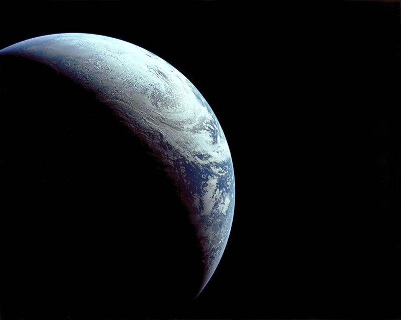 Apollo 4 image of crescent Earth Saturn V Command Service Module NASA image posted on SpaceFlight Insider