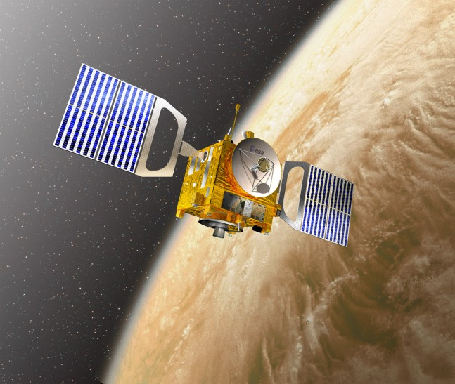 Artist Impression of Venus Express in orbit over the closest planet to Earth. Photo Credit: ESA