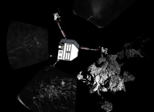 Philae's first panorama as seen by its CIVA instrument. An illustration of the lander has been added for context. Image Credit: ESA posted on SpaceFlight Insider
