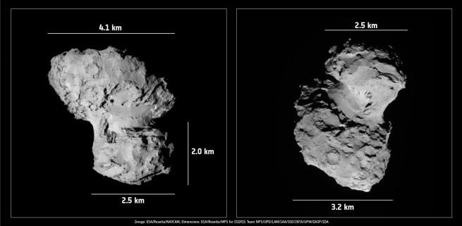 Full dimensions of comet 67P as imaged by Rosetta's NAV CAM. Image Credit: ESA