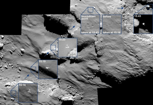 OSIRIS captures Philae's cross-comet journey. Image Credit: ESA as posted on Spaceflight Insider