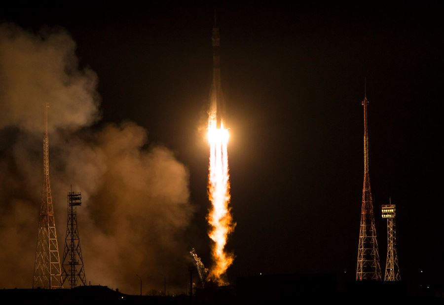 Expedition 42 43 Soyuz FG rocket lifts off Baikonur Cosmodrone photo credit Aubrey Gemignani NASA posted on SpaceFlight Insider