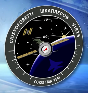 Expedition 42 patch Terry Virts Samantha Anton image credit NASA TV posted on SpaceFlight Insider