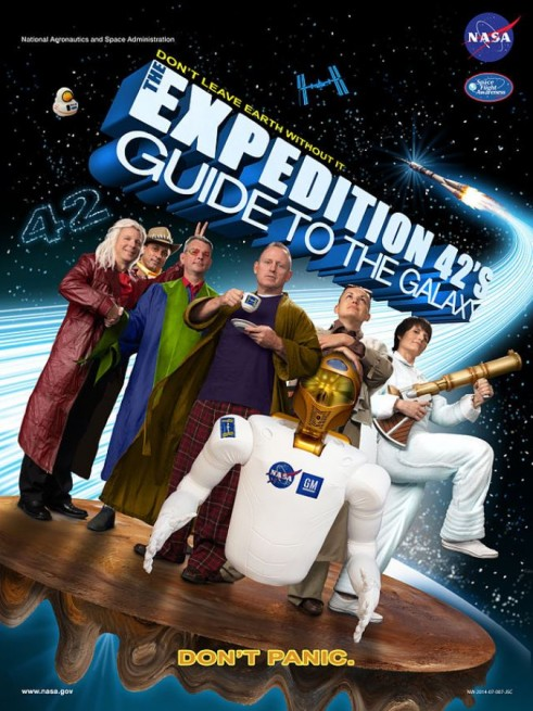 Expedition_42_'The_Hitchhiker's_Guide_to_the_Galaxy'_crew_poster NASA image posted on SpaceFlight Insider