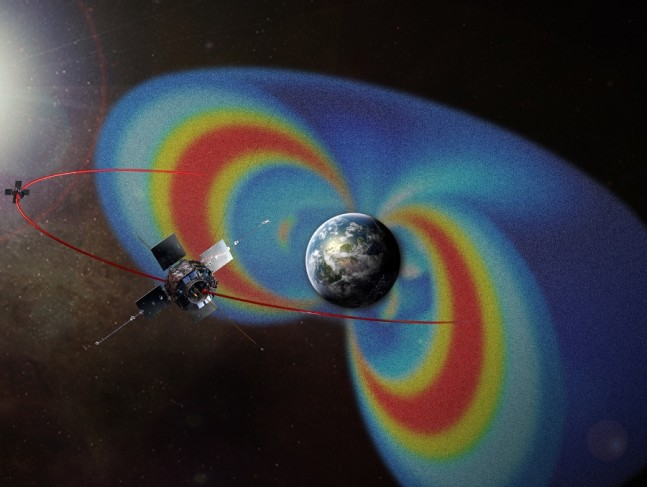 Visualization of the radiation belts with confined charged particles (blue and yellow) and plasmapause boundary (blue-green surface). Image Credit: NASA/Goddard/Scientific Visualization Studio posted on SpaceFlight Insider