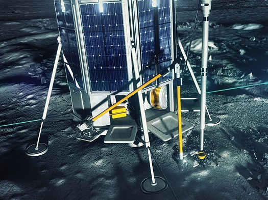 Artist's concept showing Lunar One lander's  drill and robotic arm. Image Credit: Lunar Missions Ltd. posted on SpaceFlight Insider