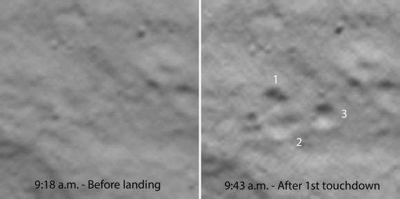 Image depicting Philae's initial touchdown on comet 67P. Image Credit: ESA as seen on Spaceflight Insider