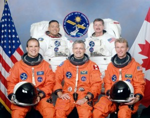 Front L-R: Jett, Garneau, and Bloomfield. In the rear are Noriega (left) and Tanner. Photo Credit: NASA