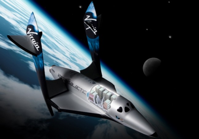 Virgin Galactic SpaceShipTwo feathered suborbit Virgin image posted on SpaceFlight Insider