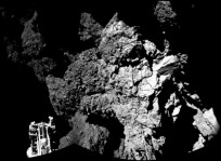 Rosetta's Philae lander is safely on the surface of comet 67P as seen in the initial CIVA images. Image Credit: ESA posted on SpaceFlight Insider