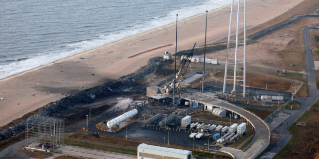 The damage to Wallops' Pad-0A is clearly visible in this image taken the day after the accident. Photo Credit: NASA