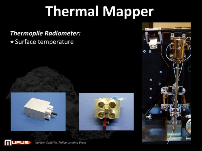 Close-up of the MUPUS thermal mapper. Image Credit: ESA as seen on Spaceflight Insider