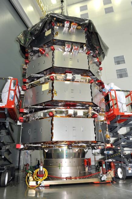 A preview of the launch configuration for the four satellites of NASA's Magnetospheric Multiscale (MMS), built at Goddard Space Flight Center. Photo Credit: NASA as seen on Spaceflight Insider
