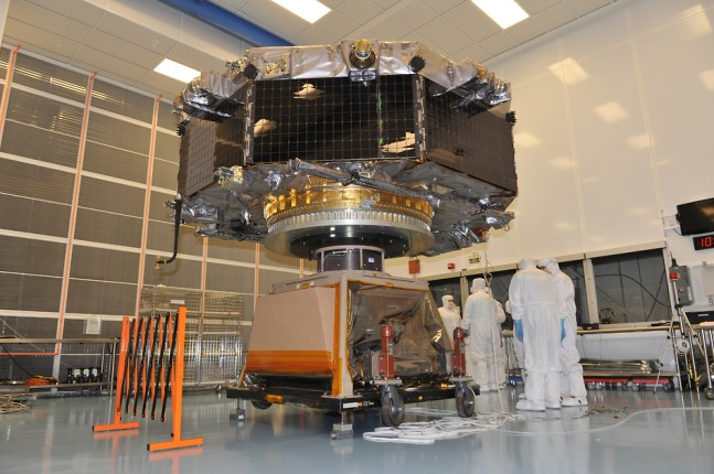 Observatory #4 of NASA's Magnetospheric Multiscale undergoes spin tests. Photo Credit: NASA as seen on Spaceflight Insider